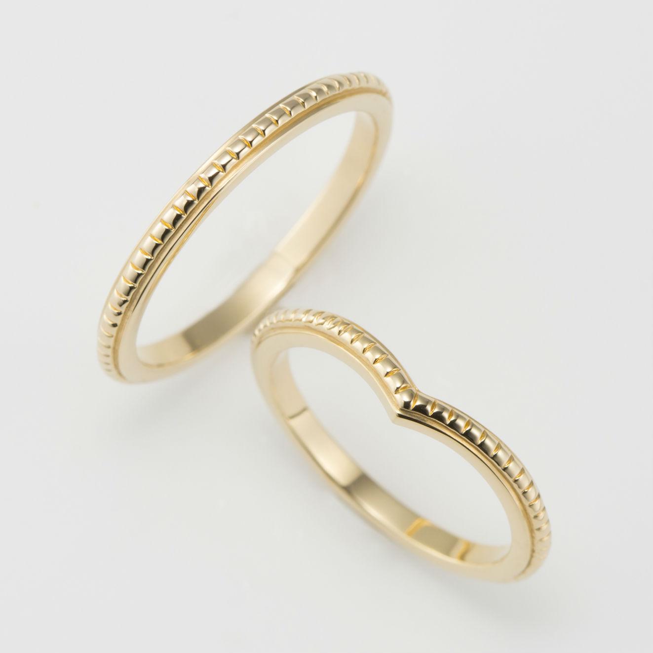 ミルグレイン イエローゴールド 結婚指輪