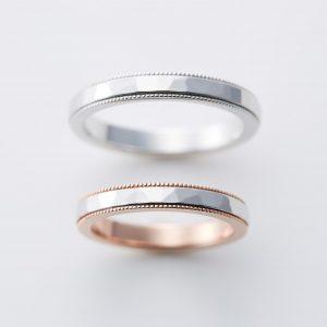 槌目とミルグレインの結婚指輪