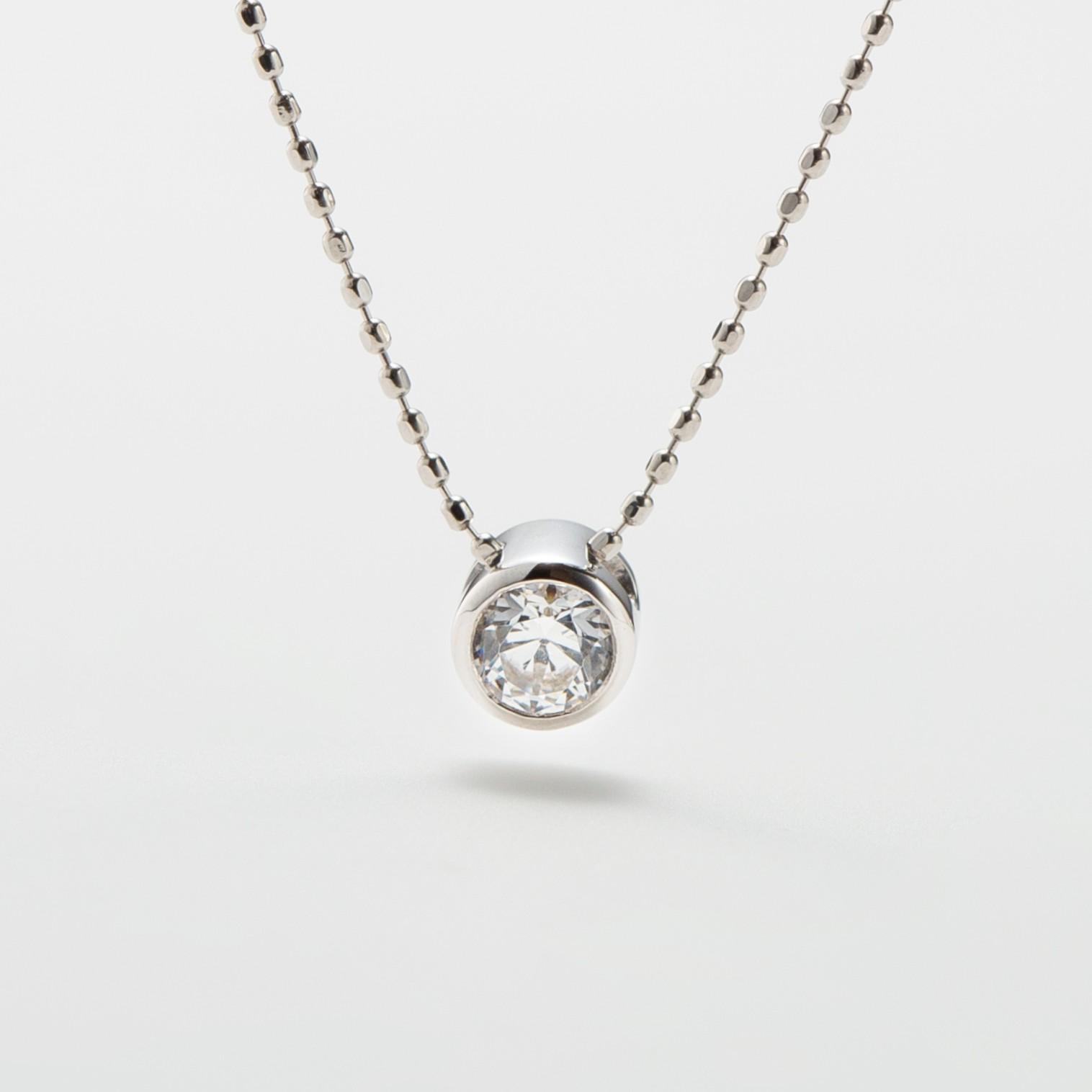 覆輪留めのダイヤモンドの婚約ネックレス