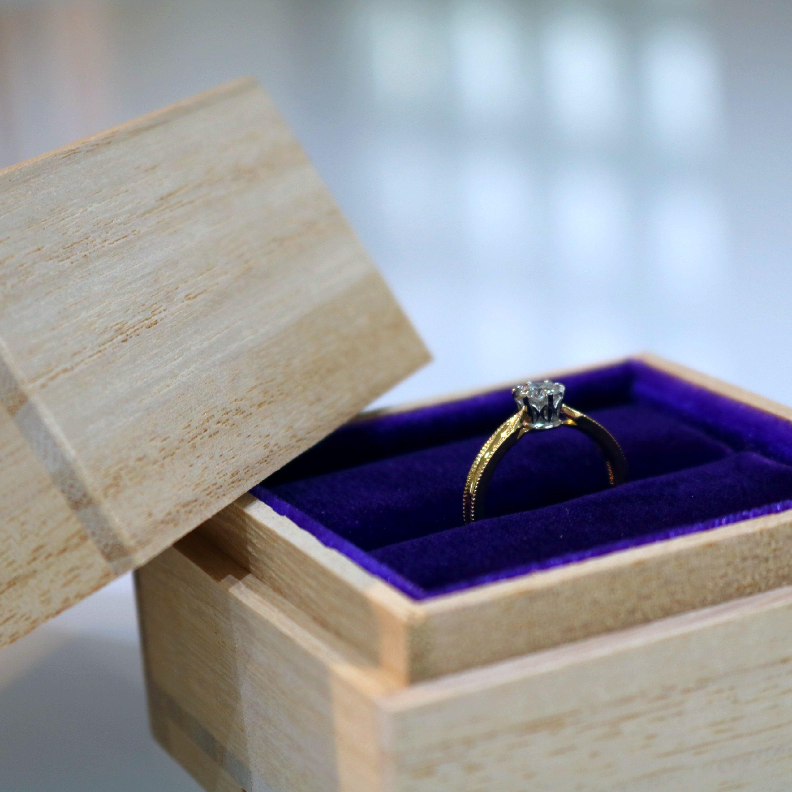 イエローゴールド アンティーク 婚約指輪