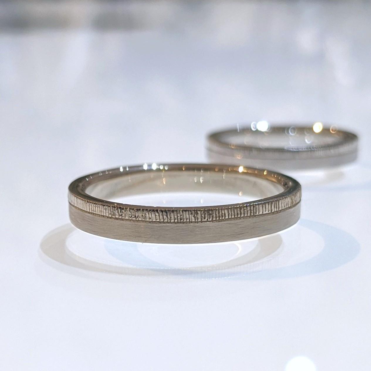 ホワイトゴールド ミルグレイン 結婚指輪