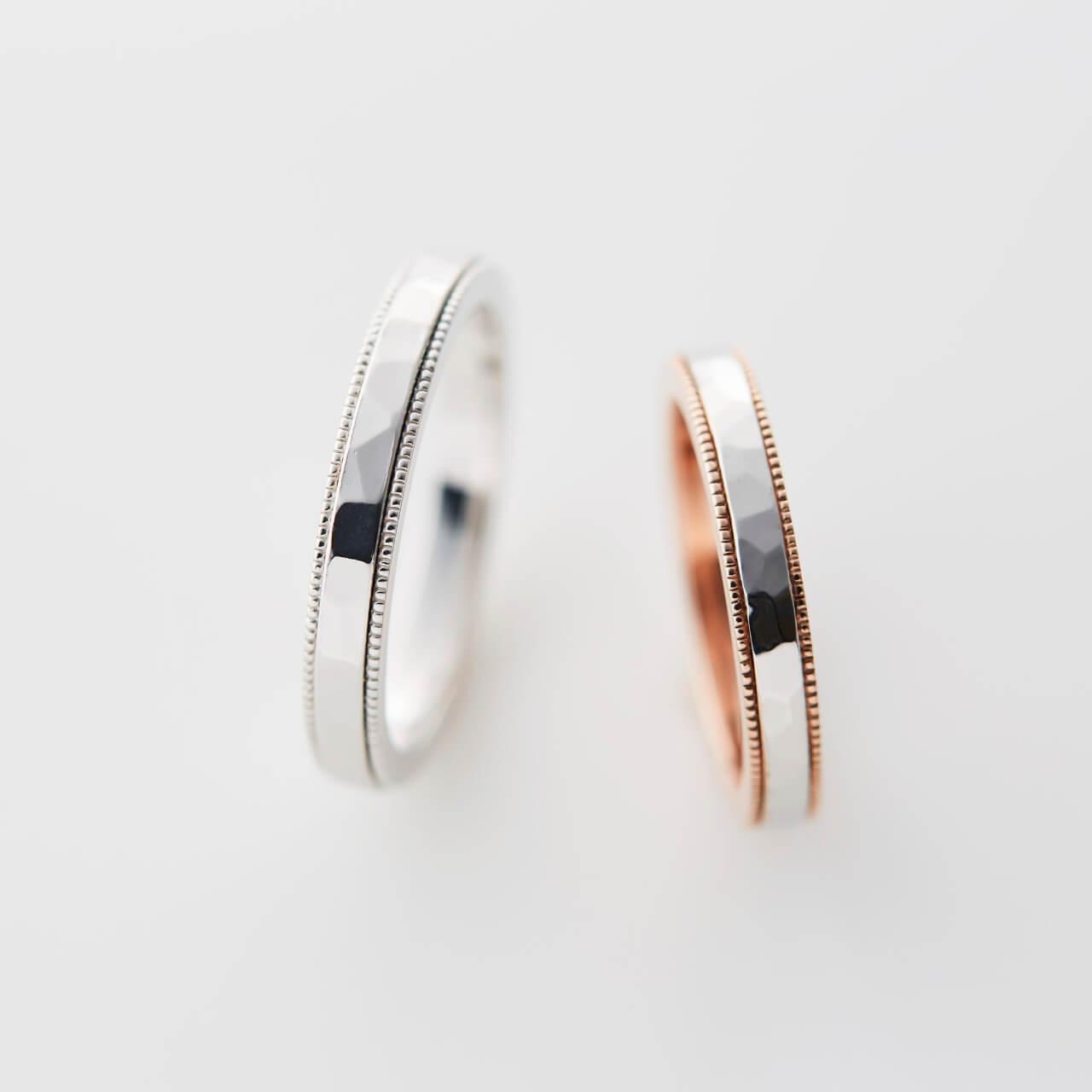 ミルグレインと鎚目のストレートの結婚指輪