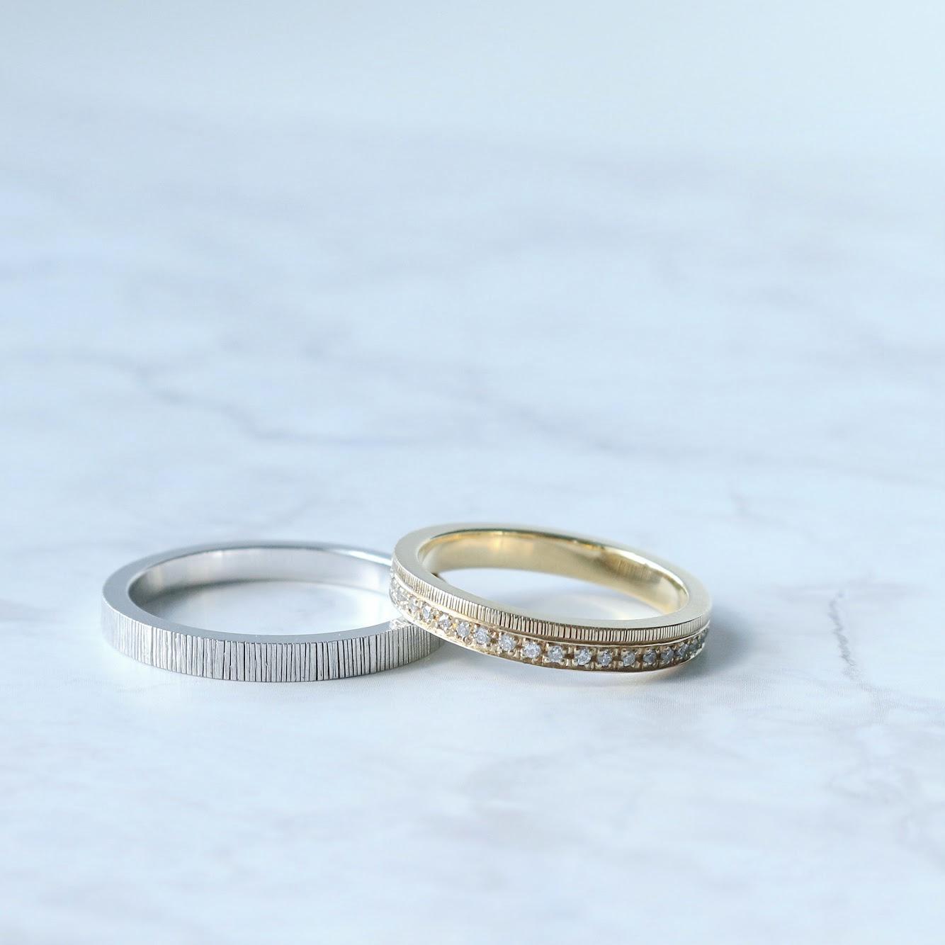 平打ちフォルムの結婚指輪|さまざまなデザインの紹介