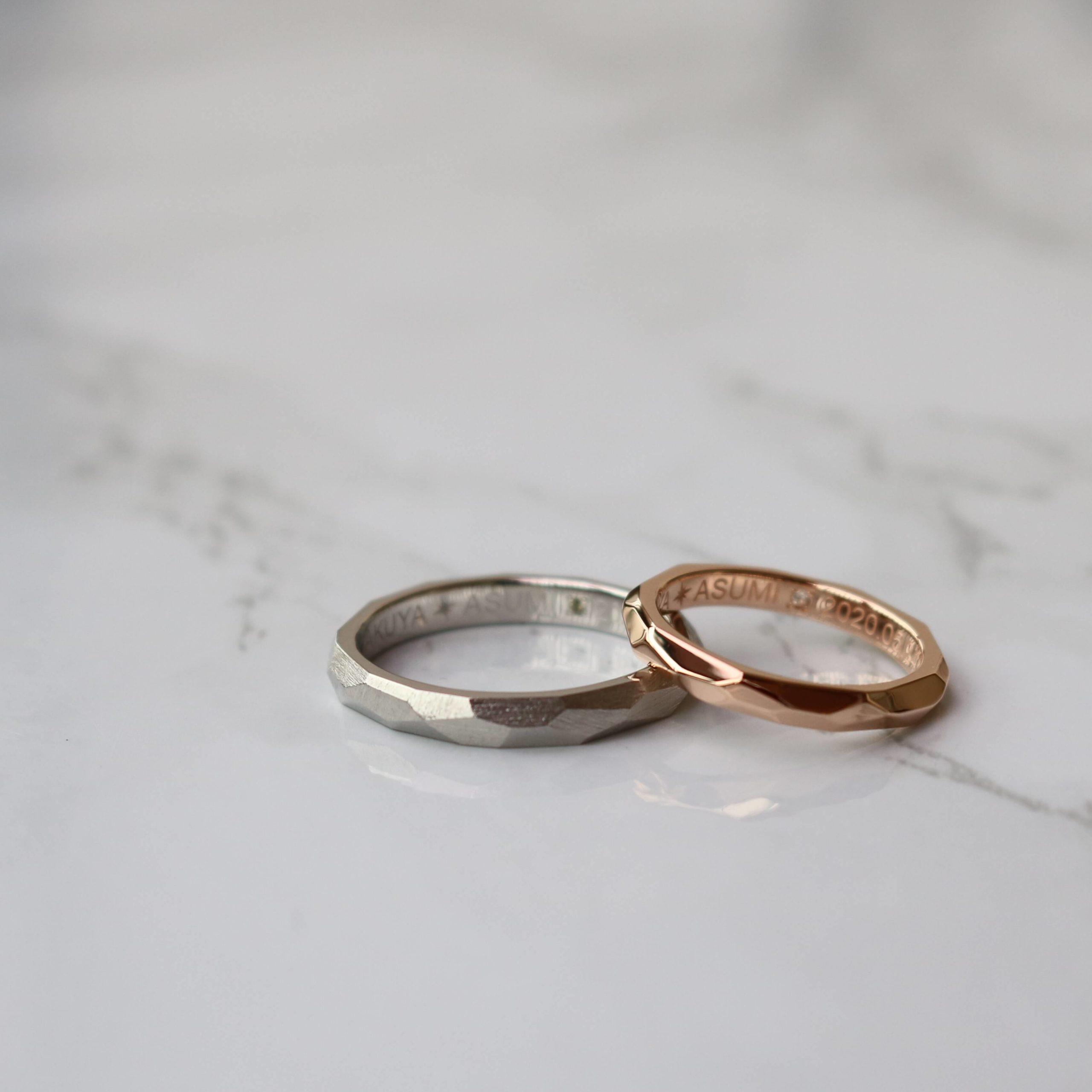 色違いのオーダーメイドの結婚指輪