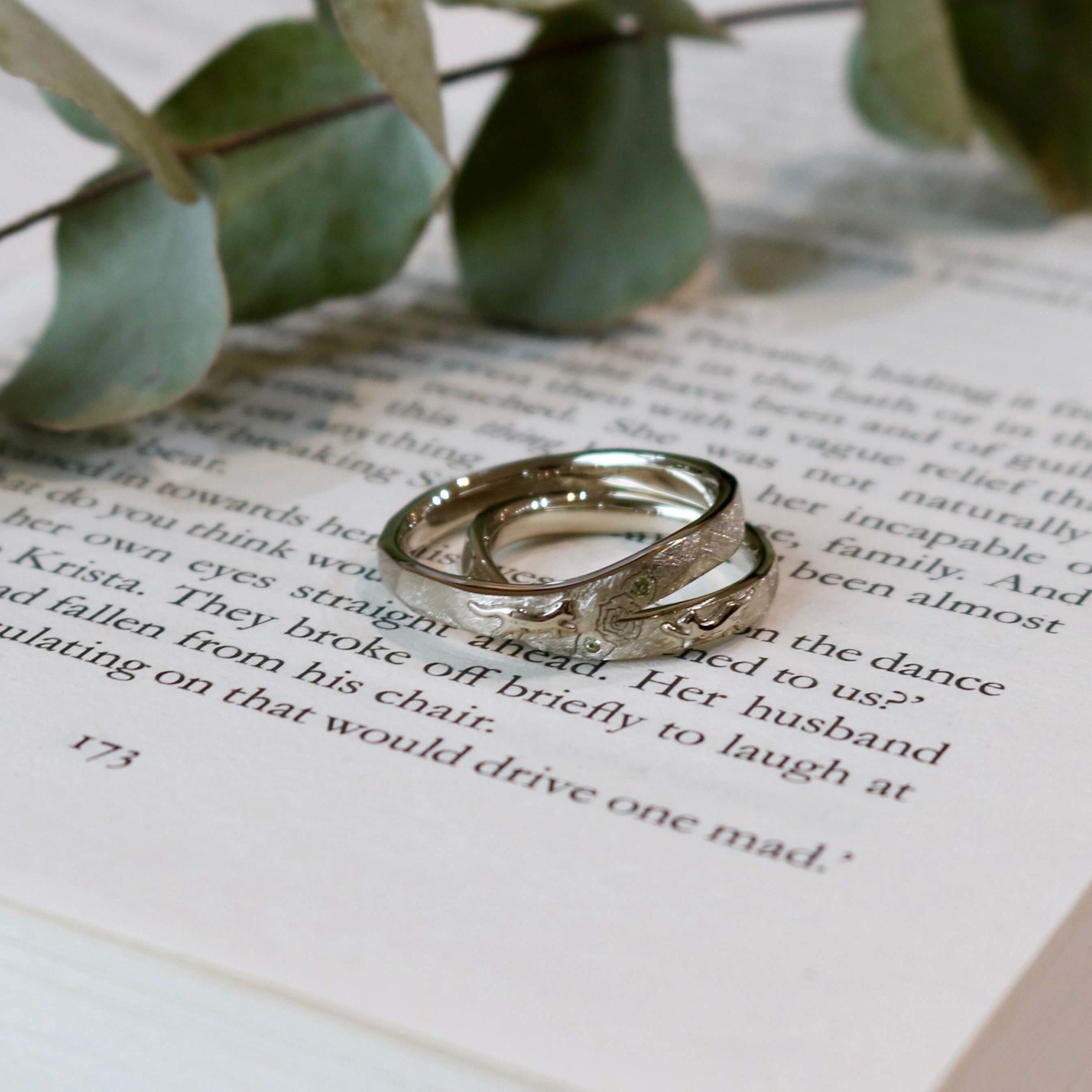猫モチーフのフルオーダーの結婚指輪