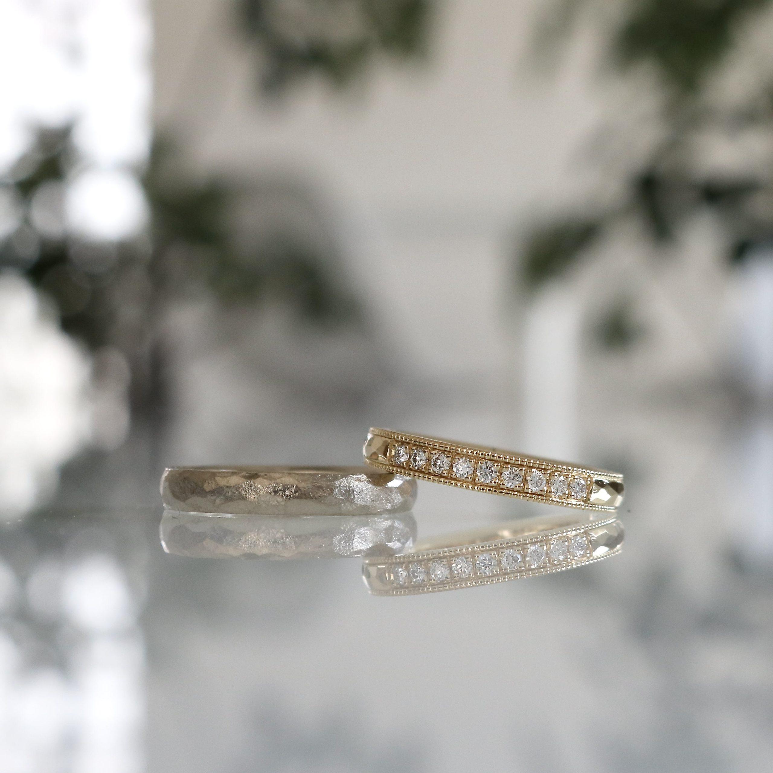 鎚目とハーフエタニティの結婚指輪