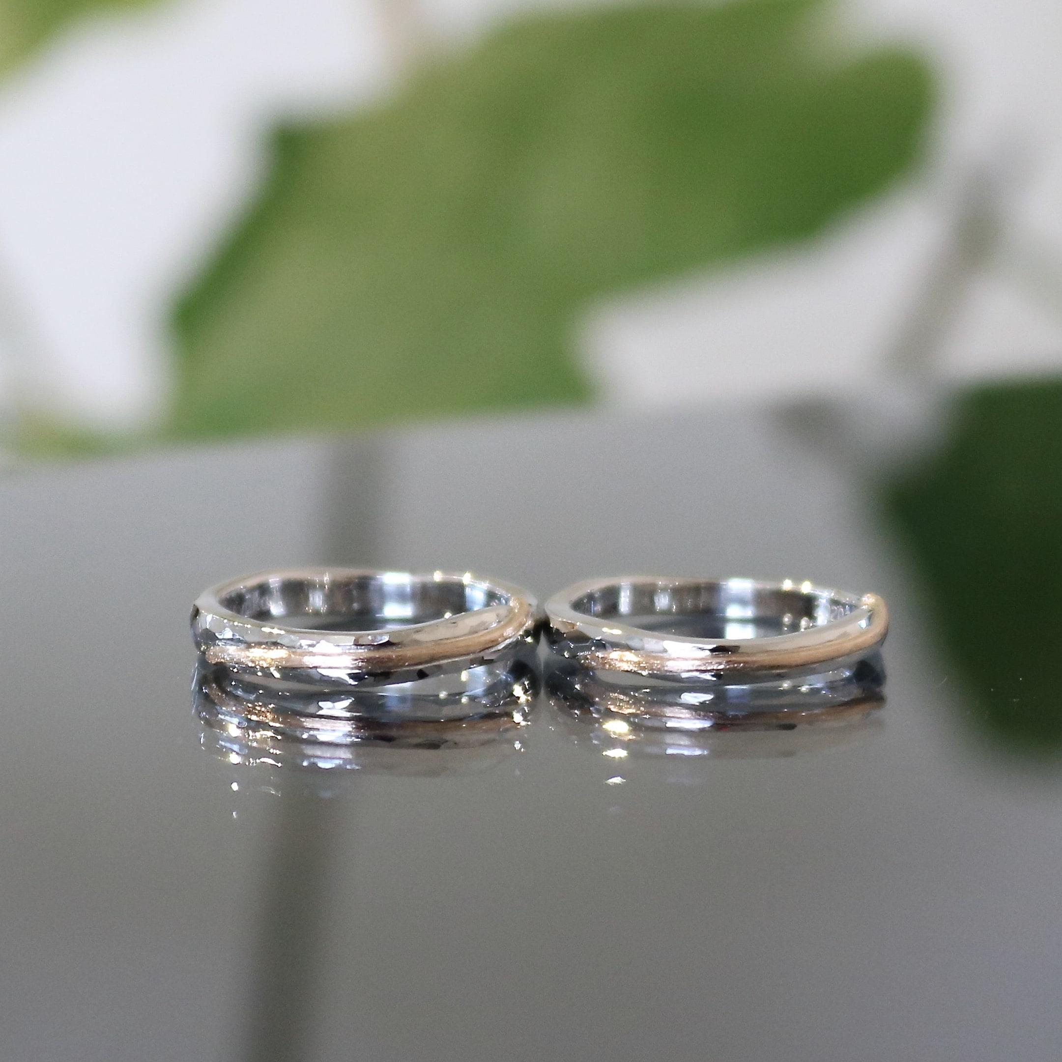 フルオーダーのコンビリングの結婚指輪