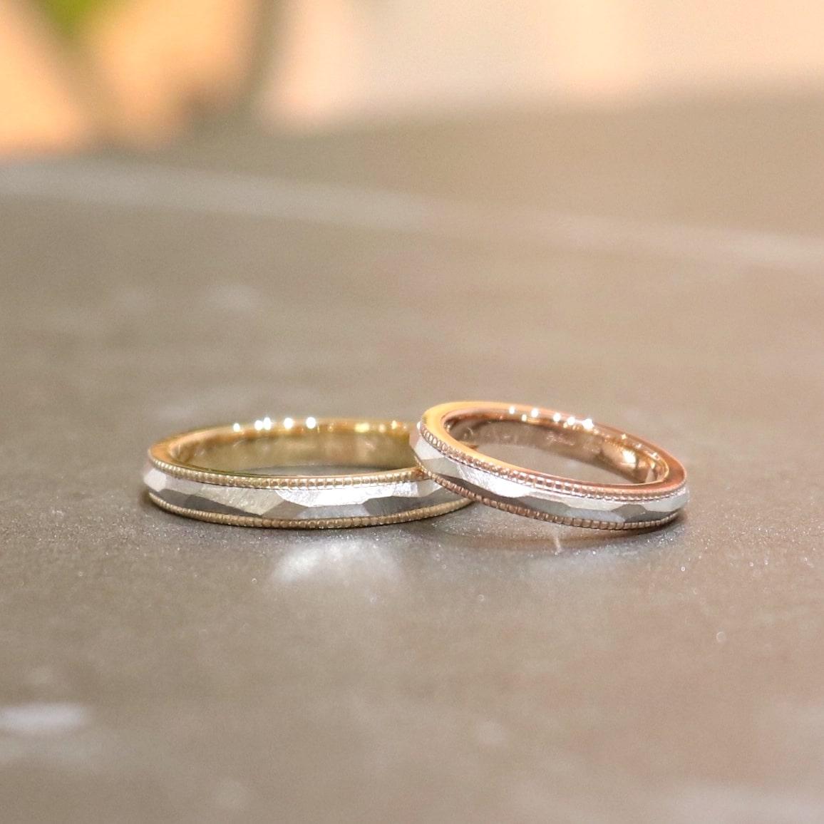多面とミルグレインのコンビリングの結婚指輪