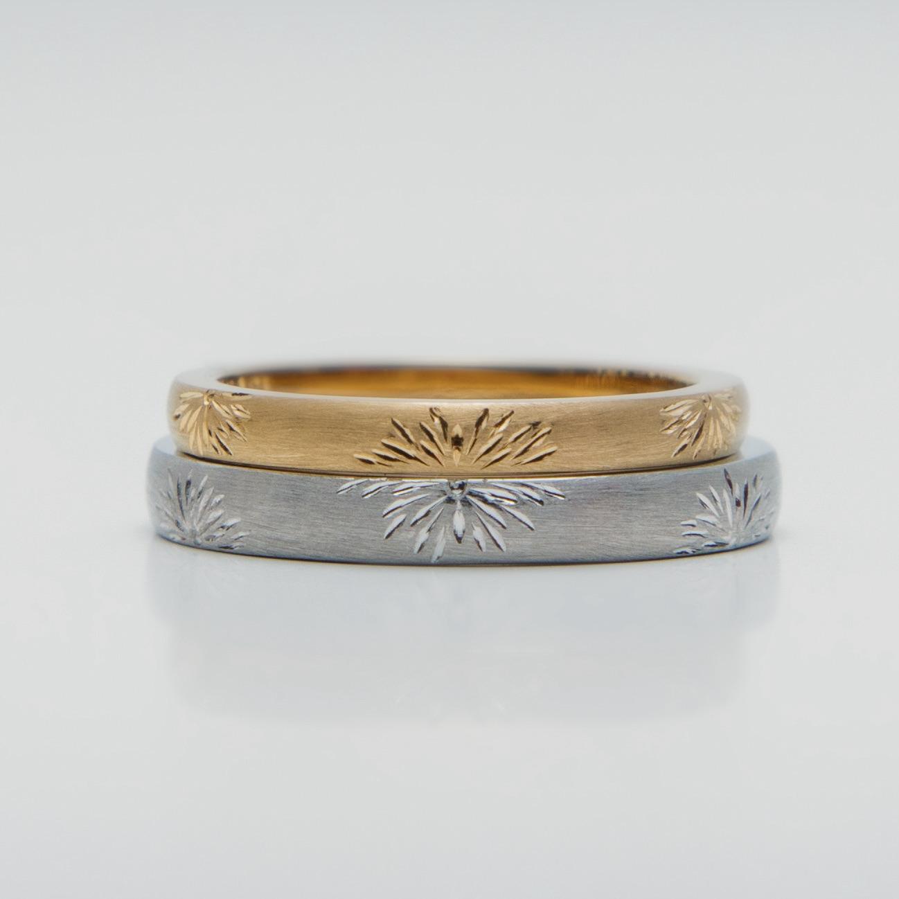 花火模様の和風の結婚指輪