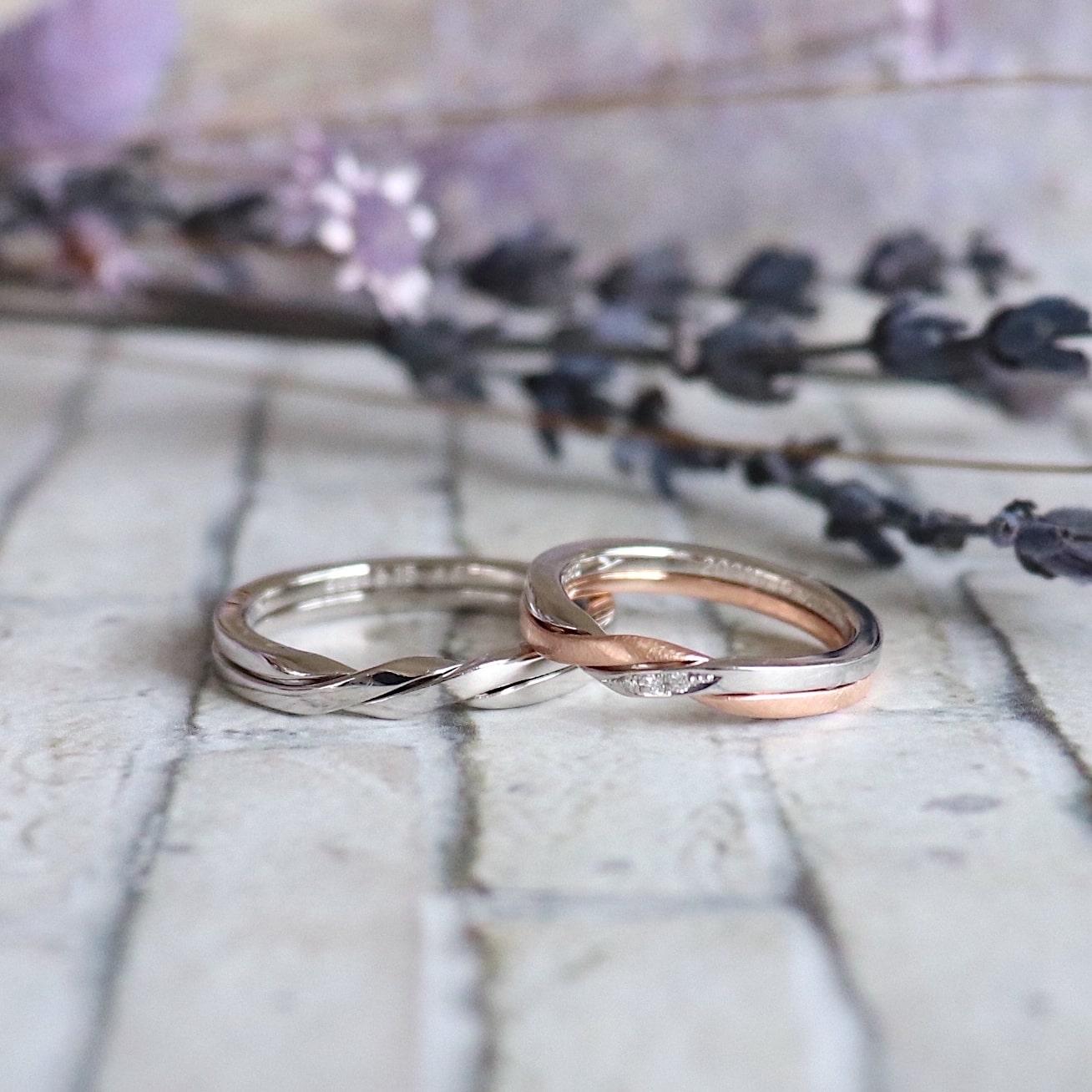 ダイヤモンドをしらったギメルリングの結婚指輪