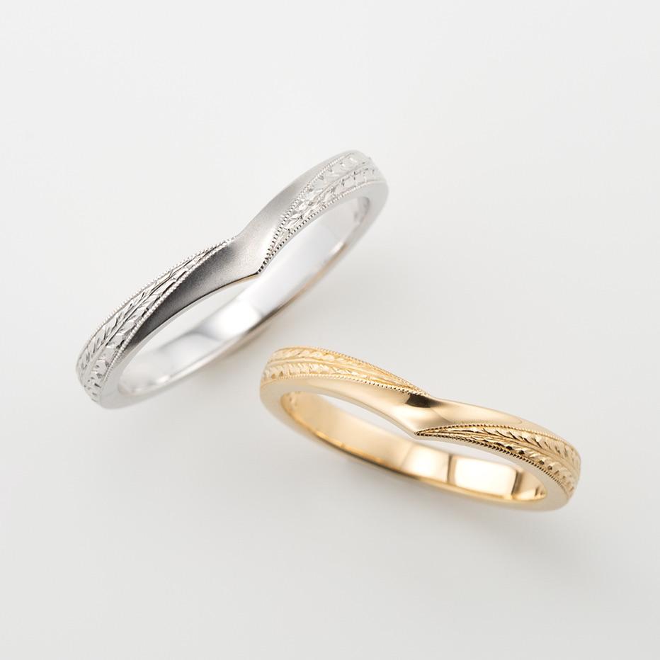 藤の花の彫り模様の和風の結婚指輪